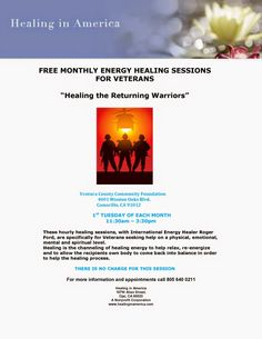 Free Healing Sessions for Veterans http://military-civilian.blogspot.com/2014/09/free-healing-sessions-for-veterans.html