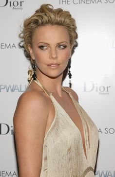 Charlize Theron short tousled hair
