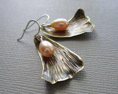 Flower Petal Pink Pearl Earrings Hammered Brass Sterling Silver