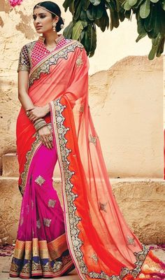 Create a lasting impact on the onlookers in this orange and pink color net georgette embroidered half n half sari. Beautified with lace, resham and stones work. #designersarees #designersaris #sarisonline