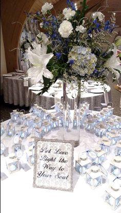 """Love Lights the Way"" Ivory Metal Luminous Lanterns Tall Floral Arrangements, Seating Arrangement Wedding, Seating Plan Wedding, Wedding Flower Arrangements, Yellow Wedding Flowers, Wedding Table Flowers, Wedding Table Settings, Blue Wedding, Dream Wedding"