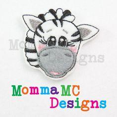 Zebra Felt Feltie Embroidery Design by MommaMC on Etsy (Craft Supplies & Tools, Patterns & Tutorials, Sewing & Needlecraft, Embroidery, machine embroidery, felt, feltie, felty, pattern, zoo, zebra)
