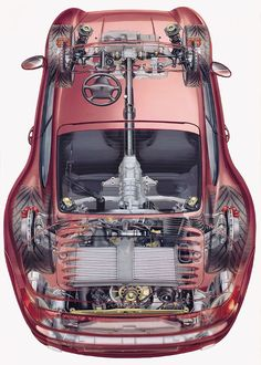 Porsche 911 - Xray cutaway drawing. The car drawing is ghosted to give a realistic sense of both its interior and exterior!
