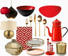 chinese new year decor, red graphic rug and those gold silver wears