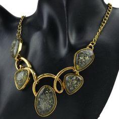 Huge Vintage Gold Plated Smoky Irregular Resin Statement Bib Necklace LC125K
