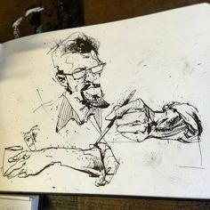 #drinkanddraw last night at #3clubs. #sketch of @dave_crosland makin it happen. Solid crew last night. @emlikesart @jimmahfood @mkhuddleston @meaghanokeefe_ @ryanjebelt #jasonshawnalexander #sketch #draw #drawing #art #comics #illustration #ink #needmoreink #sketchbook