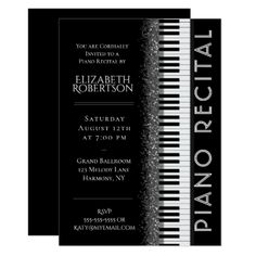Black and White Piano Recital Card - white gifts elegant diy gift ideas