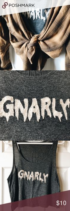 """Brandy Melville """"Gnarly"""" Crop Tank A fun crop tank that can be paired nicely with shorts or a flannel! I only wore this once so it's in very good condition! Brandy Melville Tops Crop Tops"""