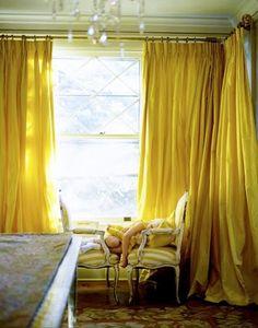 yellow silk curtains