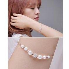 Faux-Pearl Rhinestone Bracelet