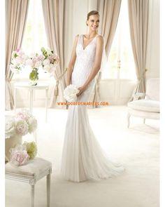 Robe de mariage tulle perles col V