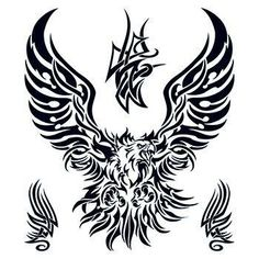 """Size:7.5"""" x 8"""" Description:This large back tattoo can be cut and place on the back, neck, and sides to make a full looking piece. The tribal eagle temporary tattoo set is good for open back outfits. Eagle Tattoos, Skull Tattoos, Sleeve Tattoos, Body Art Tattoos, Tribal Tattoos, Tribal Tattoo Designs, Tribal Eagle Tattoo, Tattoo Drawings, Back Tattoos"""