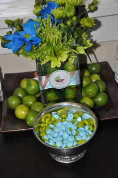 limes, flowers, blue/green M & M's