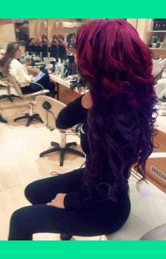 Omg this makes me miss my long hair!! red to purple hair | Deaja A.'s Photo | Beautylish