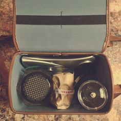 Coffee travel kit with aeropress, able brewing s-filter digital scale and hario coffee grinder
