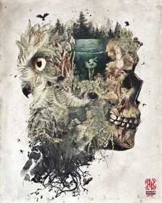 The Forest Lake Dream a natural owl skull dark surrealism forest plants design digital art signed premium quality giclée print