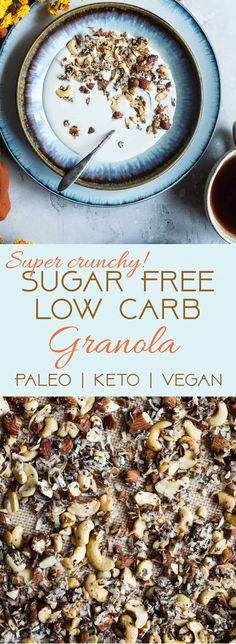 Coconut Cashew Low Carb Keto Granola – SO crispy and crunchy that you'll never guess it's secretly healthy, low carb, gluten and sugar free and paleo and vegan friendly! The perfect breakfast or snack that's great for meal prep! Low Carb Diets, Low Carb Ketosis, High Protein Low Carb, Ketogenic Diet, Keto Vegan, Vegan Keto Recipes, Super Healthy Recipes, Low Carb Recipes, Vegetarian Keto