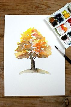 Autumn Tree Watercolor Painting Recreating the beautiful ever blending colors of fall with watercolor is a great beginner's exercise.Recreating the beautiful ever blending colors of fall with watercolor is a great beginner's exercise. Tree Watercolor Painting, Watercolor Paintings For Beginners, Watercolor Projects, Watercolour Tutorials, Watercolor Techniques, Watercolor Cards, Watercolor Landscape, Painting & Drawing, Painting With Watercolors