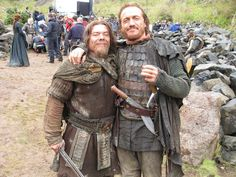 """omg-okimhere: """"jeromeifyouwantto: """" Flynn A Day, 24 September with cast member on set of Game Of Thrones """" I've always wondered if that knife is real. Jerome Flynn, Crocodile Dundee, Game Of Thrones Cast, Bronn, 24 September, Cast Member, On Set, It Cast, My Love"""