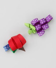 Take a look at this Purple Fruit Clip Set by Pink Poseys Bowtique on #zulily today!