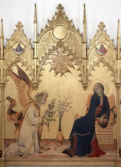 Simone Martini and Lippo Memmi - Annunciazione Artist Simone Martini (1285–1344)   Lippo Memmi (1291–1356)   Date1333 Mediumtempera on panel Current location Uffizi Gallery. Probably this belonged to a rich person or church because it is all made with gold.