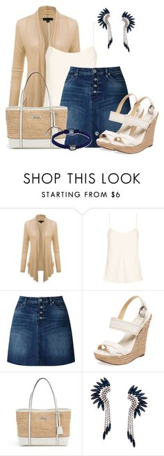 """Denim Skirt"" by lchar ❤ liked on Polyvore featuring The Row, 7 For All Mankind, Schutz, Dana Buchman, Elizabeth Cole and Shamballa Jewels"