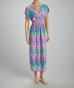 Take+a+look+at+the+Purple+&+Green+Zigzag+V-Neck+Maxi+Dress+on+#zulily+today!