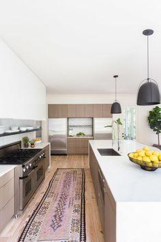 Modern contemporary kitchen with vintage runner ©️️AlyssaRosenheck2016 with Sean Anderson Design for Architectural Digest