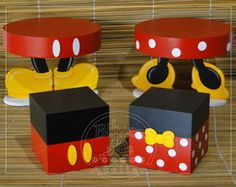 Kit cubos e bandejas mickey - 06 peças Mais Mimi Y Mickey, Fiesta Mickey Mouse, Red Minnie Mouse, Mickey Mouse Parties, Mickey Party, Mickey Minnie Mouse, Mickey First Birthday, Mickey 1st Birthdays, Mickey Mouse Clubhouse Birthday