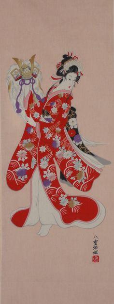 Tenugui 'Kabuki Princess'