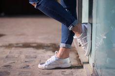 OUTFIT - SILVER SUPERGA. - storiesandsmiles.com | Jacket – GAP, Jeans – Topshop (Jamie) , Shirt – Ralph Lauren , Shoes – Superga