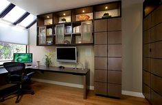 3 Home Office Tips to Boost Productivity. Home office design with corner desk and stylish cabinets