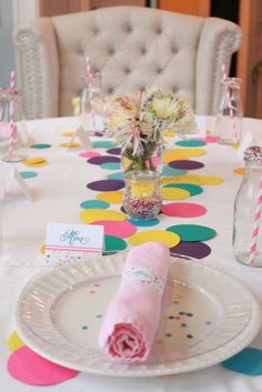 Confetti party dots on table dots on plate with clear plate over...cute!