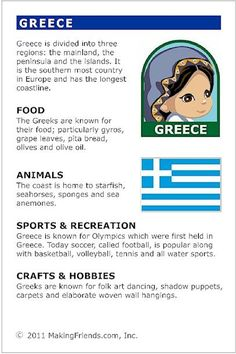Facts about Greece Greece Fact Card for your Girl Scout World Thinking Day or International celebration. Free printable available at . Fits perfectly in the World Thinking Passport, also available at Around The World Theme, Kids Around The World, Greece Girl, Little Passports, Culture Day, World Geography, Teaching Geography, World Thinking Day, Facts For Kids