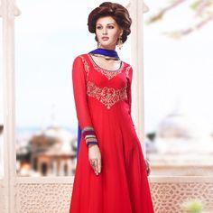 #Red #Anarkali Churidar Kameez