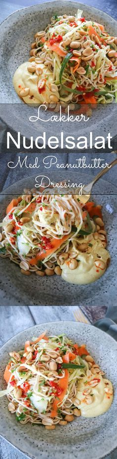 Fresh And Delicious Noodle Salad With A Dressing Of Peanut Butter And Curry - Salat Veggie Recipes, Asian Recipes, Vegetarian Recipes, Ethnic Recipes, Dinner Dishes, Dinner Recipes, Healthy Cooking, Healthy Eating, Food Porn
