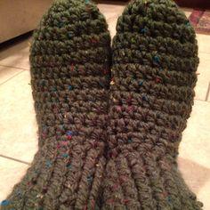 Slipper Socks, Cypress Green, Chunky Yarn on Etsy, $35.00