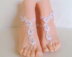 Free ship white flower wedding barefoot sandals rhinestone wedding prom party steampunk bangle beach anklets bangles bridal bride bridesmaid