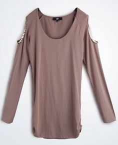 Coffee Cut Out Shoulder Long Sleeve Ruched Side T-Shirt