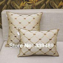 Moda de luxo bege bordado xadrez almofada de cabeceira sofa capa de almofada travesseiro kaozhen núcleo grande por pacote 5060(China (Mainland))