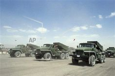 Troops and vehicles from East Yemen taking part in the National Day Parade on Sept. 26, 1980 in Sanaa, Yemen. (AP Photo)