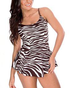 Look what I found on #zulily! Brown & White Zebra Swimdress - Women by Daisy's Swimwear #zulilyfinds