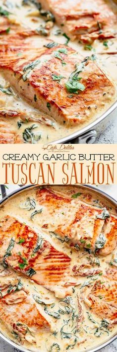 Creamy Garlic Butter Tuscan Salmon is a restaurant quality pan seared salmon in . - Creamy Garlic Butter Tuscan Salmon is a restaurant quality pan seared salmon in – Salmon Recipes - Seared Salmon Recipes, Baked Salmon, Keto Salmon, Pan Seared Salmon, Baked Fish, Grilled Salmon, Fish Dinner, Seafood Dinner, Seafood Recipes