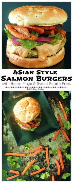 Asian Style Salmon Burgers with Hoisin Mayo and Spicy Sweet Potato Fries - Asian flavors come together to make this salmon burger light and bright and simply irresistible! #SpringIntoFlavor #Ad