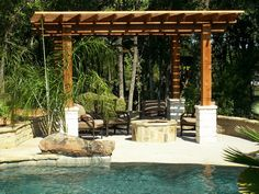 Pergola with fire pit