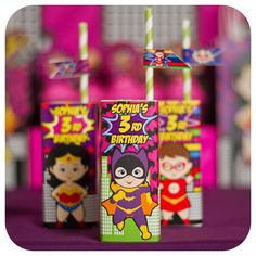 Juice boxes at a supergirl birthday party! See more party planning ideas at CatchMyParty.com!