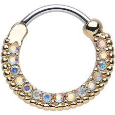 "16 Gauge 3/8"" Aurora CZ Gold IP Ring of Brilliance Septum Clicker | Body Candy Body Jewelry"
