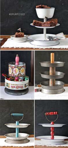 "Repurposed vintage objects to make tiered caddys as sold through Etsy seller ""seelamade"". Inspires one to start repurposing found objects! Love the pie tins! Recycled Crafts, Diy And Crafts, Easy Crafts, Diy Projects To Try, Craft Projects, Tiered Stand, Repurposed Items, Tray Decor, Cake Plates"