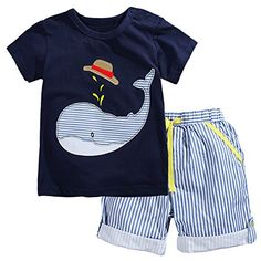 Mini Bitty Boys Striped Summer Cartoon Tshirt Set2001TZ4T *** Want to know more, click on the image.Note:It is affiliate link to Amazon.