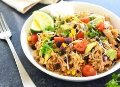 Slow Cooker Chicken Burrito Bowls